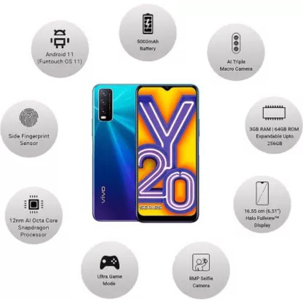 Vivo Y20i (Nebula Blue, 3GB RAM, 64GB Storage)