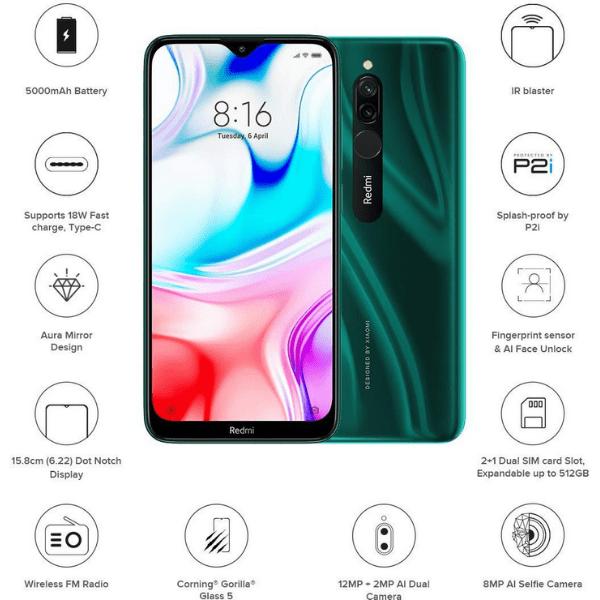 Mi Phone Redmi 8 (Emerald Green,64GB Storage,4GB RAM)