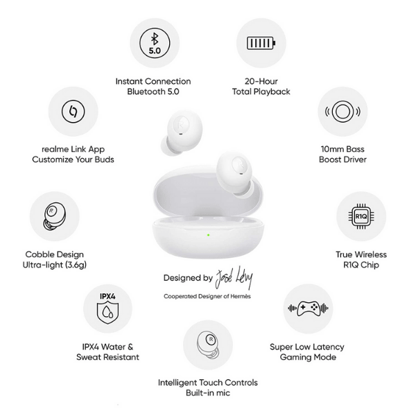 Realme Buds Wireless Earbuds (White)