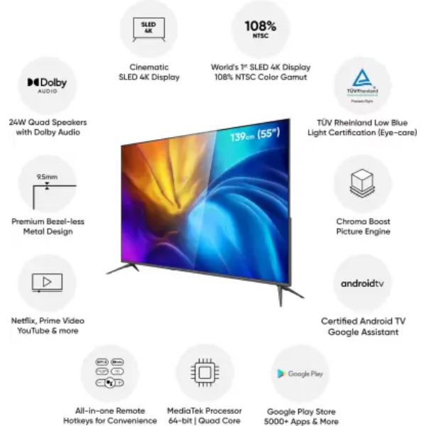 Realme SLED (55 inch) Ultra HD (4K) LED Smart Android TV